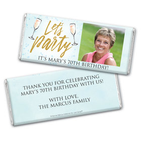 Personalized Bonnie Marcus Birthday Champagne Party Chocolate Bar Wrappers Only