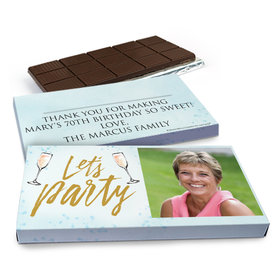 Deluxe Personalized Birthday Champagne Party Chocolate Bar in Gift Box (3oz Bar)