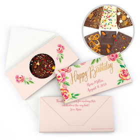 Personalized Bonnie Marcus Birthday Pink Flowers Gourmet Infused Belgian Chocolate Bars (3.5oz)