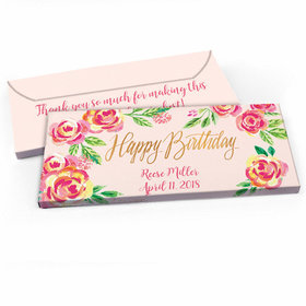 Deluxe Personalized Birthday Pink Flowers Hershey's Chocolate Bar in Gift Box