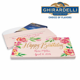 Deluxe Personalized Birthday Pink Flowers Ghirardelli Chocolate Bar in Gift Box