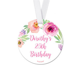 Personalized Round Floral Embrace Birthday Favor Gift Tags (20 Pack)