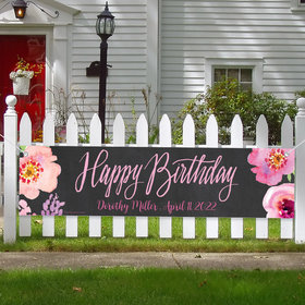 Personalized Birthday Sweet 16 Birthday Floral Banner