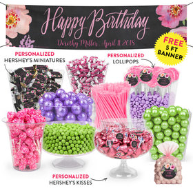 Personalized Birthday Floral Embrace Deluxe Candy Buffet