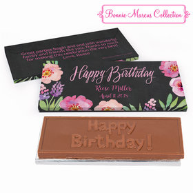 Deluxe Personalized Adult Birthday Floral Embrace Chocolate Bar in Gift Box