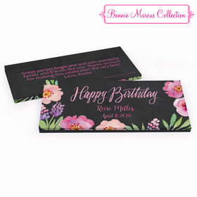 Deluxe Personalized Adult Birthday Floral Embrace Hershey's Chocolate Bar in Gift Box