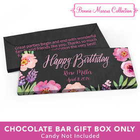 Deluxe Personalized Adult Birthday Floral Embrace Candy Bar Favor Box