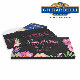 Deluxe Personalized Birthday Floral Embrace Ghirardelli Chocolate Bar in Gift Box