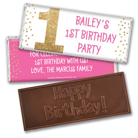 Bonnie Marcus Personalized 1st Birthday Gold One Embossed Chocolate Bars