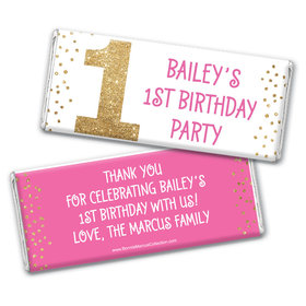 Bonnie Marcus Personalized 1st Birthday Gold One Chocolate Bar Wrappers