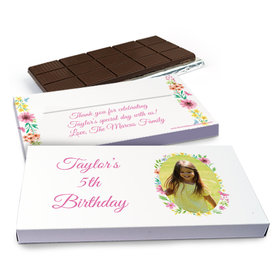 Deluxe Personalized Birthday Blossom Photo Chocolate Bar in Gift Box (3oz Bar)