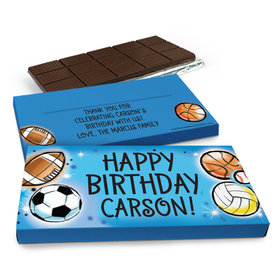 Deluxe Personalized Birthday Airbrush Athletics Chocolate Bar in Gift Box (3oz Bar)