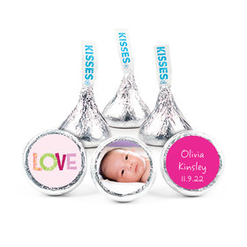 """Bonnie Marcus Collection Personalized 3/4"""" Sticker Love Girl Birth Announcement"""