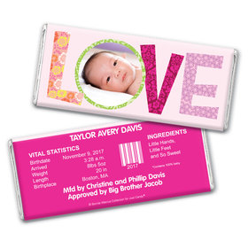 Bonnie Marcus Collection Personalized Chocolate Bar Love Girl Birth Announcement