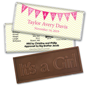 Bonnie Marcus Collection Personalized Embossed It's a Girl Bar It's a Girl Chevron Birth Announcement