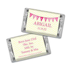 Bonnie Marcus Collection Personalized Hershey's Miniatures Wrappers It's a Girl Chevron Birth Announcement