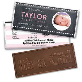 Bonnie Marcus Collection Personalized Photo Embossed It's a Girl Bar Hearts Birth Announcement