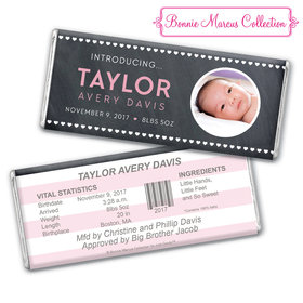 Bonnie Marcus Collection Personalized Photo Chocolate Bar Hearts Birth Announcement