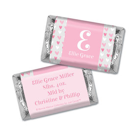 Bonnie Marcus Collection Personalized Hershey's Miniatures Wrappers Pink Hearts Birth Announcement