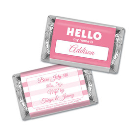 Bonnie Marcus Collection Personalized Hershey's Miniatures Wrappers Name Tag Girl Birth Announcement