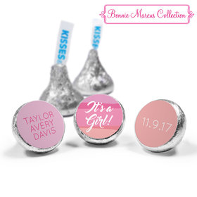 Bonnie Marcus Collection Personalized Hershey's Kisses Candy Watercolor Girl Birth Announcement (50 Pack)