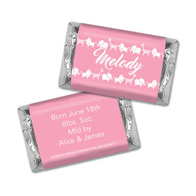 Bonnie Marcus Collection Personalized Hershey's Miniatures Wrappers Animal Parade Girl Birth Announcement