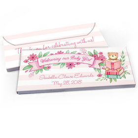 Deluxe Personalized Baby Girl Announcement Story Time Chocolate Bar in Gift Box