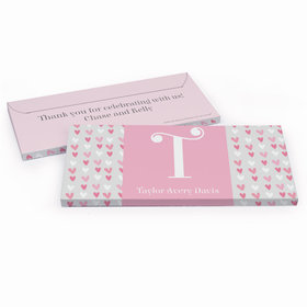 Deluxe Personalized Baby Girl Announcement Pink Hearts Chocolate Bar in Gift Box
