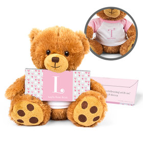 Personalized Birth Announcement Pink Hearts Teddy Bear with Embossed Chocolate Bar in Deluxe Gift Box