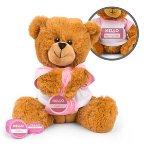 Personalized Birth Announcement Hello Baby Girl Teddy Bear with Chocolate Coins in XS Organza Bag