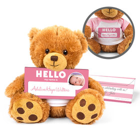 Personalized Birth Announcement Hello Baby Girl Teddy Bear with Embossed Chocolate Bar in Deluxe Gift Box