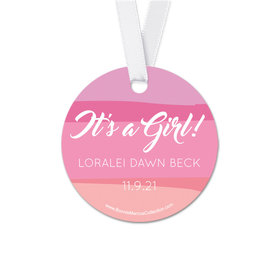 Personalized Round Baby Girl Bonnie Marcus Watercolor Birth Announcement Favor Gift Tags (20 Pack)