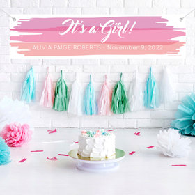 Personalized Baby Girl Announcements Watercolor 5 Ft. Banner