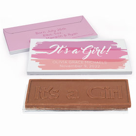 Deluxe Personalized Birth Announcement Watercolor Embossed Chocolate Bar in Gift Box