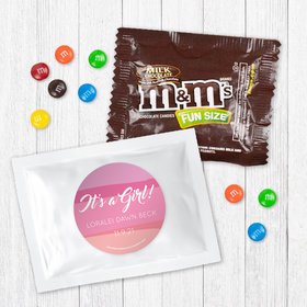 Personalized Girl Birth Announcement It's a Girl Watercolor Milk Chocolate M&Ms