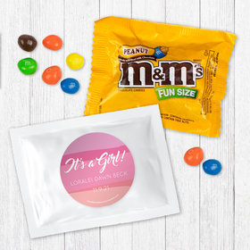 Personalized Girl Birth Announcement It's a Girl Watercolor Peanut M&Ms