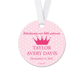Personalized Round Baby Girl Dots & Crown Announcement Favor Gift Tags (20 Pack)