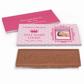 Deluxe Personalized Birth Announcement Polka Dots & Crown Embossed Chocolate Bar in Gift Box