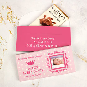 Deluxe Personalized Girl Birth Announcement Dots & Crown Godiva Chocolate Bar in Gift Box