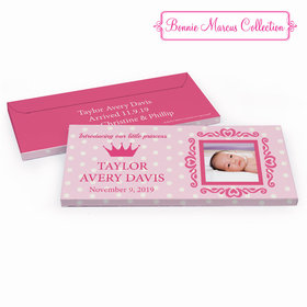Deluxe Personalized Baby Girl Announcement Polka Dots & Crown Chocolate Bar in Gift Box