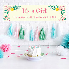 Personalized Baby Girl Announcements Pink Flowers 5 Ft. Banner