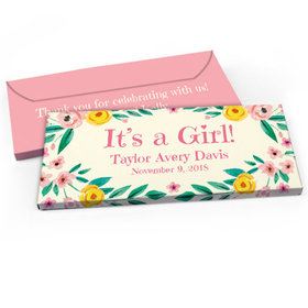 Deluxe Personalized Baby Girl Announcement Flowers Chocolate Bar in Gift Box