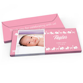 Deluxe Personalized Baby Girl Announcement Animal Parade Chocolate Bar in Gift Box