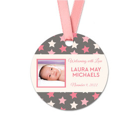 Personalized Round Baby Girl Bonnie Marcus Star Birth Announcement Favor Gift Tags (20 Pack)