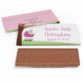 Deluxe Personalized Birth Announcement Rockabye Baby Embossed Chocolate Bar in Gift Box