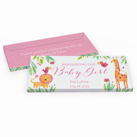 Deluxe Personalized Baby Girl Announcement Safari Snuggles Chocolate Bar in Gift Box