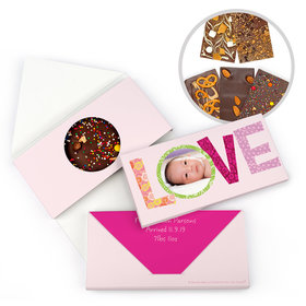 Personalized Bonnie Marcus Birth Announcement Baby Girl Love Gourmet Infused Belgian Chocolate Bars (3.5oz)