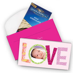 Deluxe Personalized Birth Announcement Love Ghirardelli Peppermint Bark Bar in Gift Box (3.5oz)