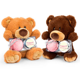 Personalized Bonnie Marcus Birth Announcement It's a Girl Banner Teddy Bear with Chocolate Covered Oreo 2pk