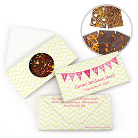 Personalized Bonnie Marcus Birth Announcement Baby Girl Banner Gourmet Infused Belgian Chocolate Bars (3.5oz)